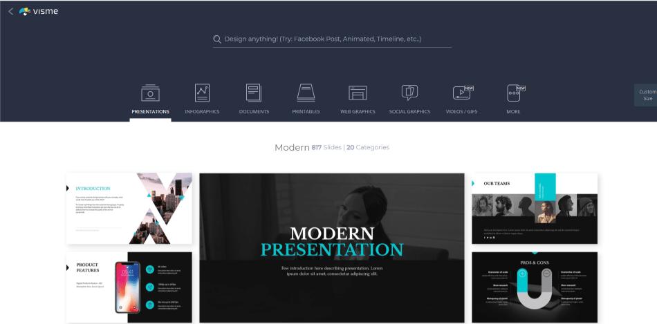 visme presentation template