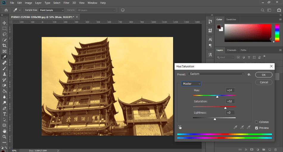 AdobePhotoshop hue stauration