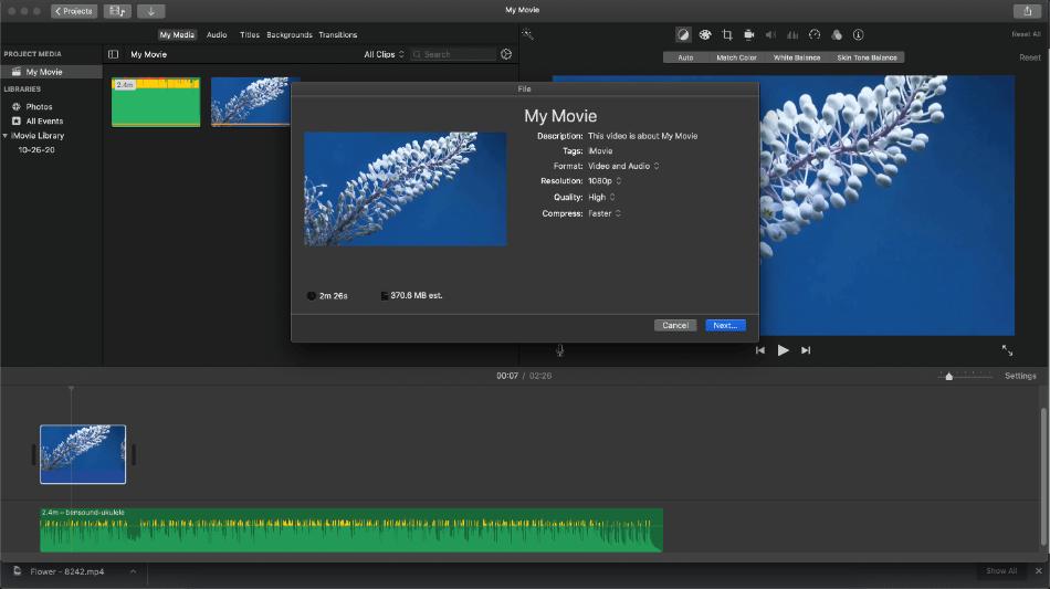 imovie saving video