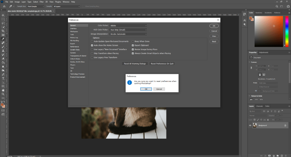 Reset Photoshop Preferences