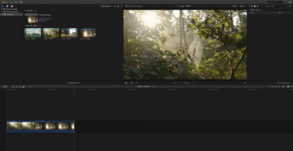 Final Cut Pro Interface of a image